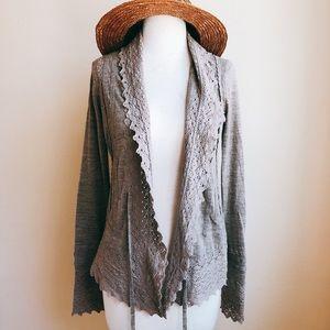 Anthropologie Sparrow Macrame Knit Cardigan